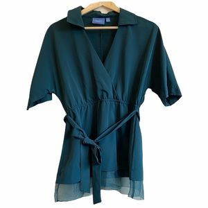 Simply by Vera Wang Faux Wrap Blouse with Collar